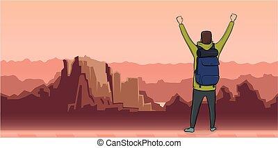 paesaggio., simbolo, mani, vettore, vista, illustrazione, indietro, copia, escursionista, explorer., elevato, space., uomo, montagna, success., backpacker, giovane