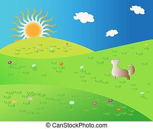 paesaggio, sole, vettore, silhouette, cane, natura, divertente