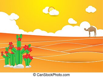 paesaggio., stile, arte, cammello, carta, fondo., mestiere, tramonto, cactus, deserto