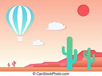 paesaggio., stile, taglio, arte, ballon, applique, mesa, aria, carta, caldo, vettore, desert., cactus