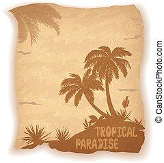 paesaggio tropicale, palma, mare, albero