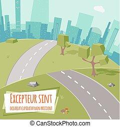 paesaggio urbano, con, strada, e, basso, poly, albero, su, erba verde