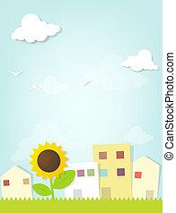 paesaggio urbano, girasole