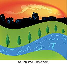 paesaggio verde, con, albero, fiume
