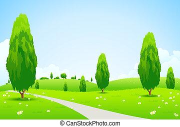 paesaggio verde, con, albero