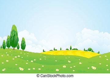 paesaggio verde, con, fiori