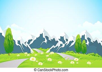 paesaggio verde, con, montagne