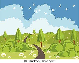 paesaggio verde, con, strada