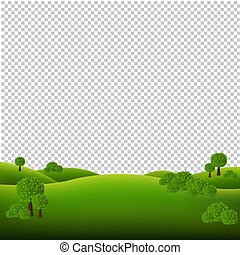 paesaggio verde, isolato, trasparente, fondo