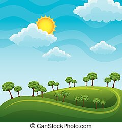 paesaggio verde, nubi, prato, albero