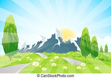 paesaggio verde, strada