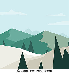 paesaggio, vettore, albero