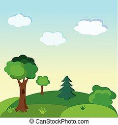 paesaggio., vettore, fondo, illustrazione, natura