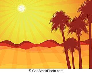 paesaggio., vettore, illustration., albero., deserto palma, alba