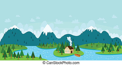 paesaggio, vettore, illustrazione, con, montagne, foresta, fiume, isola, con, casa, e, barca