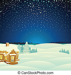 paesaggio., vettore, inverno, illustrazione, cartone animato