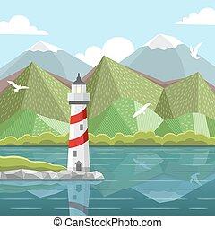 paesaggio, vettore, mare, faro