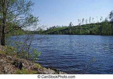 paesaggio, vista, sopra, uno, lago