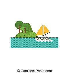 paesaggio, yacht, lago, fondo, foresta