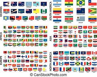 paese, alfabetico, bandiere, continente