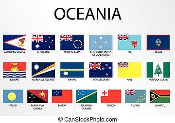 paese, alfabetico, oceania, bandiere, continente