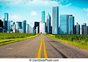 Paese, americano, strada