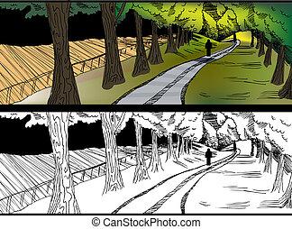 paese, camminare, strada