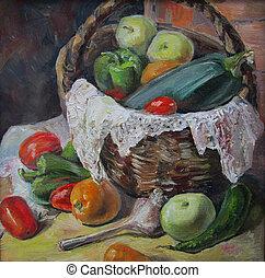 paese, dipinto olio, verdura