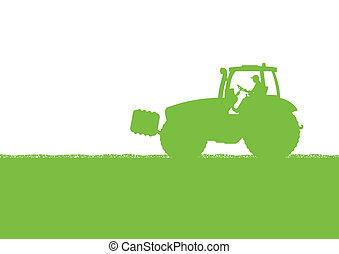paese, granaglie, illustrazione, campo, vettore, trattore, fondo, coltivato, agricoltura, paesaggio