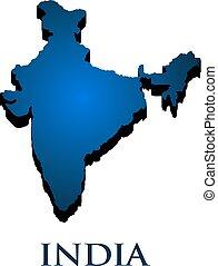 paese, india, illustrazione, vettore, map., 3d