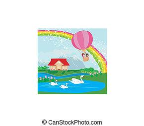 paese, paesaggio, balloon, bambini, bello, aria