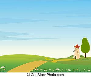 paese, paesaggio, con, strada, e, mil
