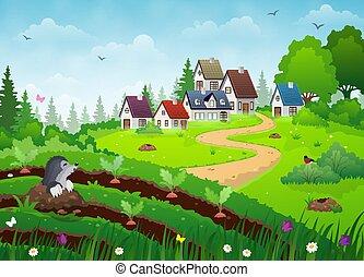 paese, paesaggio, villaggio