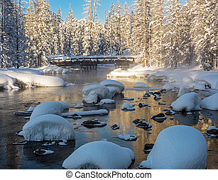 paese, ponte, piombi, sopra, uno, insenatura, in, uno, wonderland inverno