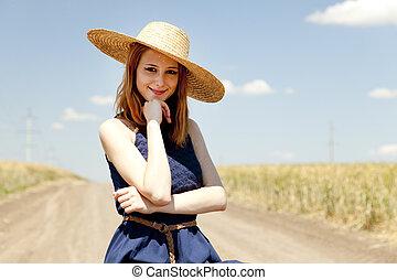 paese, ragazza, road.