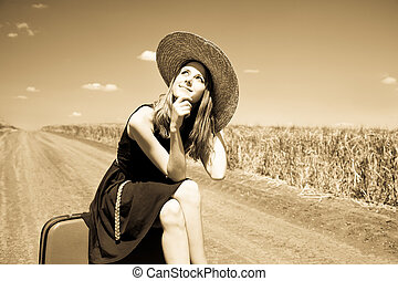 paese, ragazza, solitario, road., valigia