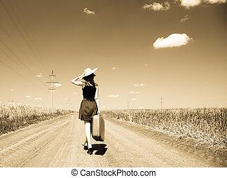 paese, ragazza, solitario, strada, valigia