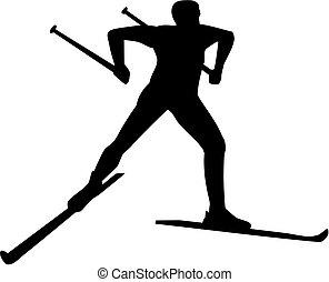 paese, silhouette, croce, sciatore
