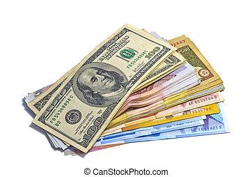 paese, soldi., contanti, mucchio, grande, molti, pila