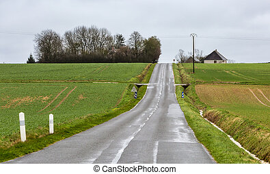 paese, vuoto, strada