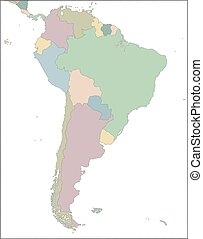 paesi, america, sud, continente, mappa