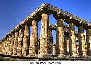 paestum, chrám, hera., itálie
