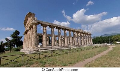 Paestum, Italy, June 25. Zoom in of Temple of Athena, a beautifully preserved ancient Greek temple, 4K. UNESCO World Heritage site.