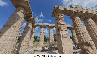 Paestum, Italy, June 25. Time lapse walk in Temple of Hera I, a beautifully preserved ancient Greek temple, UNESCO World Heritage site.