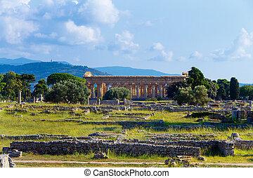 paestum, templo, griego, hera-ii., italia