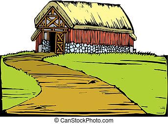 pagórek, stodoła