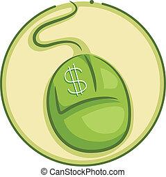 paga, clic, por, icono