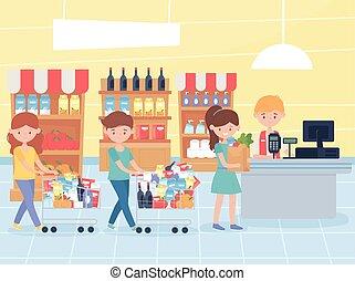 paga, comestibles, exceso, su, clientes, alimento, compra,...