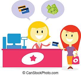 paga, con, efectivo, o, tarjeta de crédito