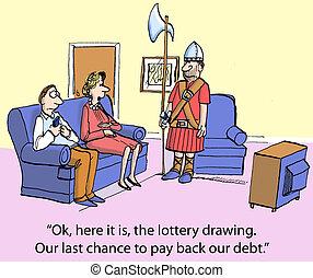 paga, deuda, espalda